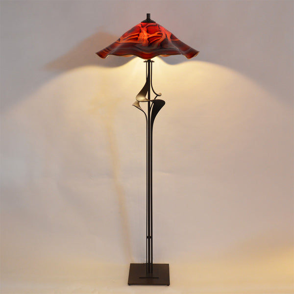 floor lamp with handmade glass shade