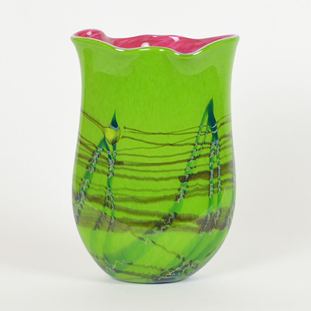 Tropical Bamboo Emerald Oblique Vase Large