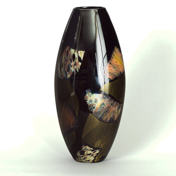 handmade colored glass vase