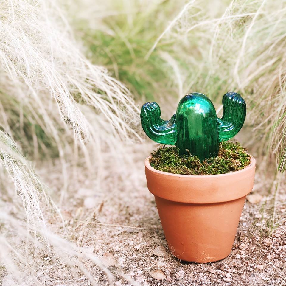 handcrafted art glass cactus