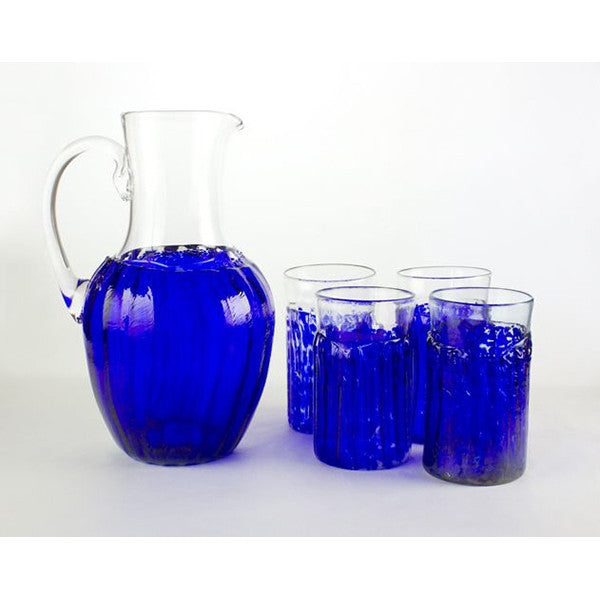 blue handmade glass cups and pitcher