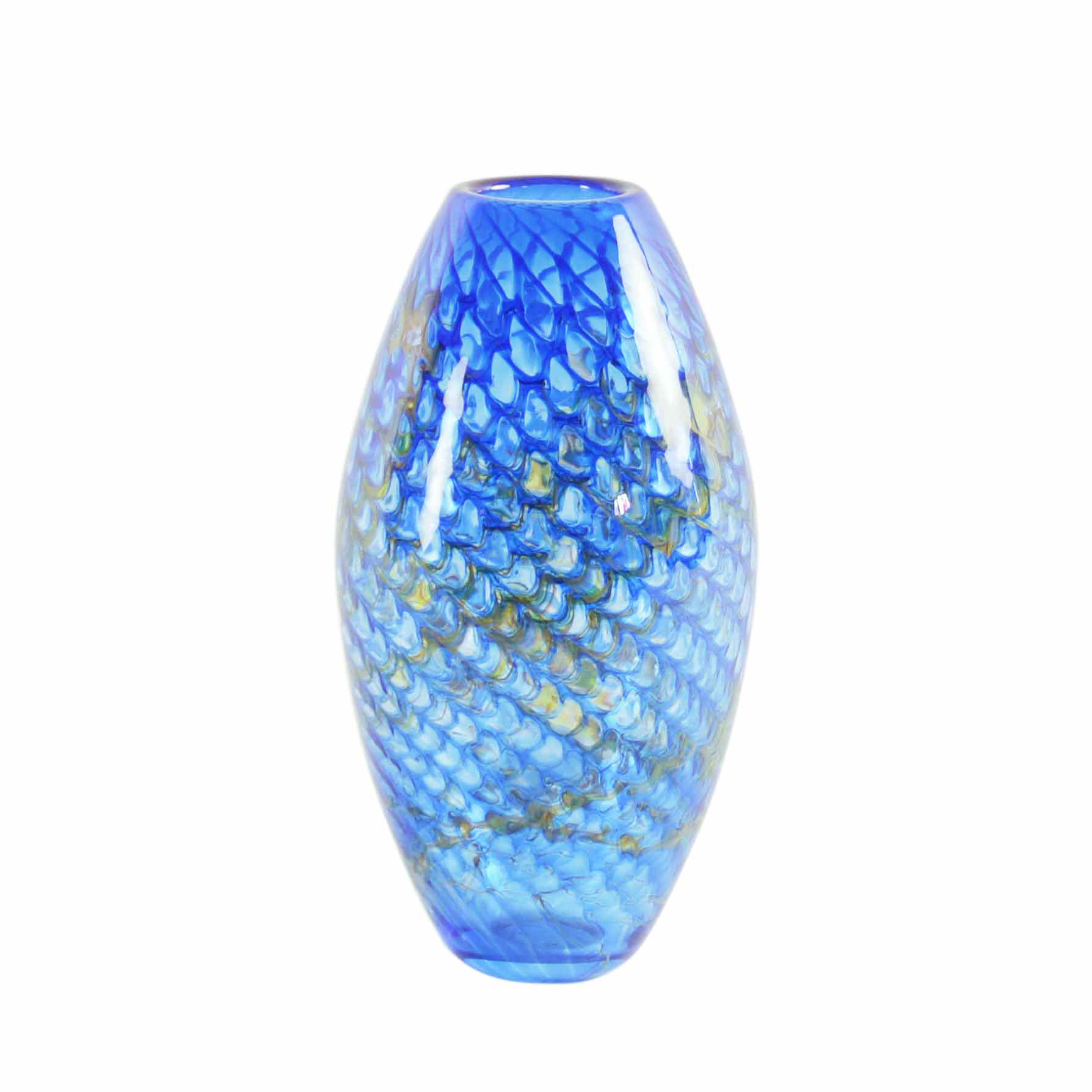 blue handmade art glass vase
