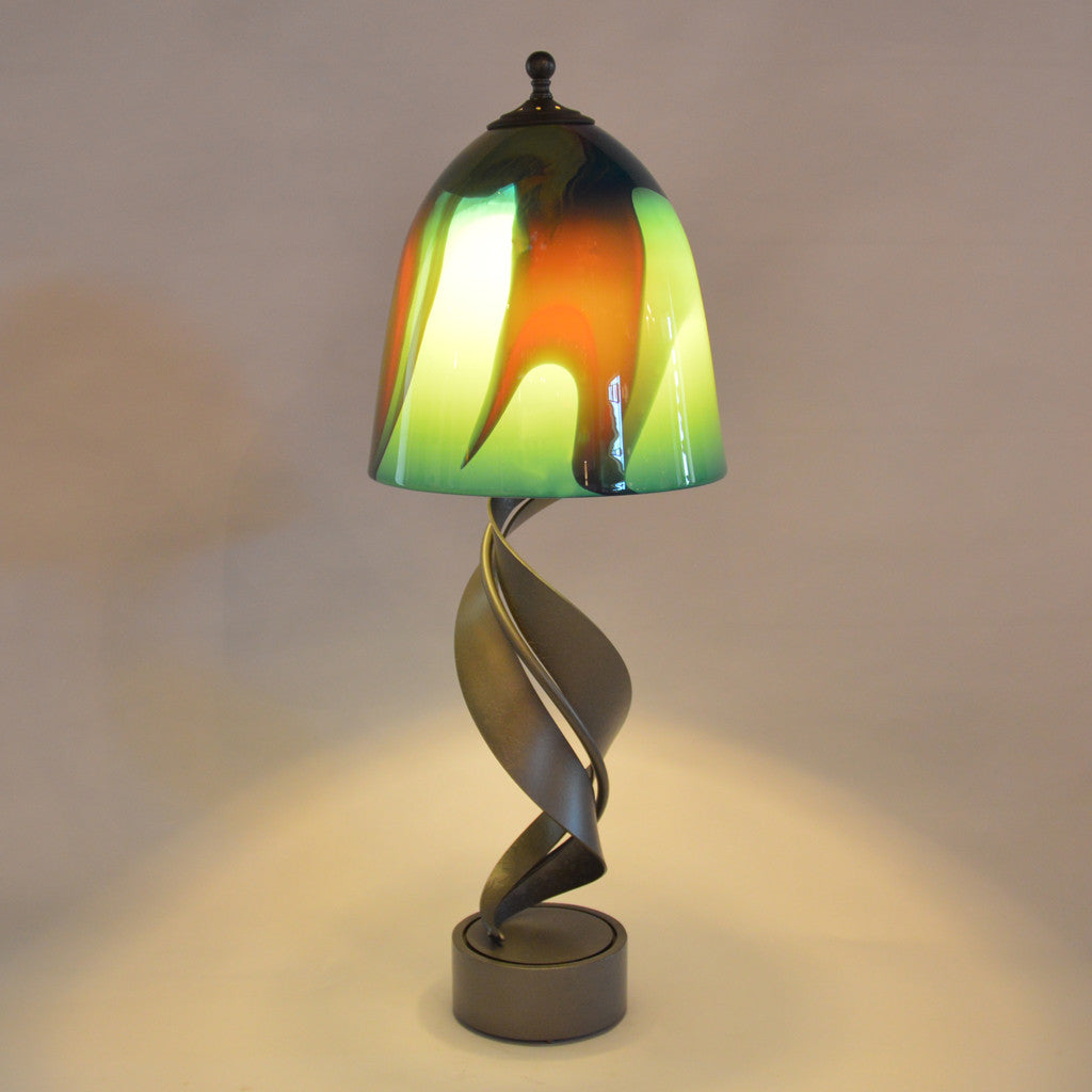 table lamp with customizable handmade glass shade