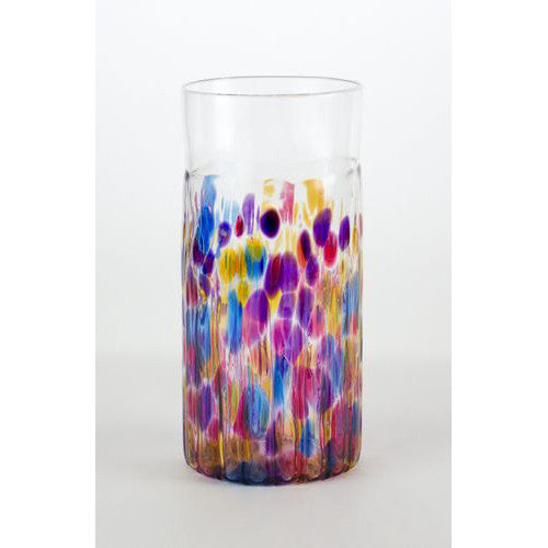 multi colored handmade drinking glasses