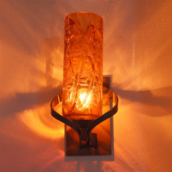 "Main image shows Amber Hot Wrap 4x10"" cylinder shade with Dark Smoke metal finish"