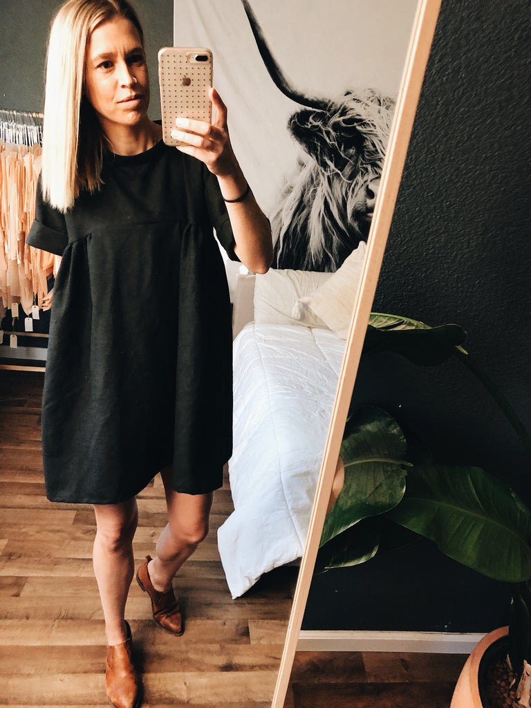 {108} Black Blouse Dress