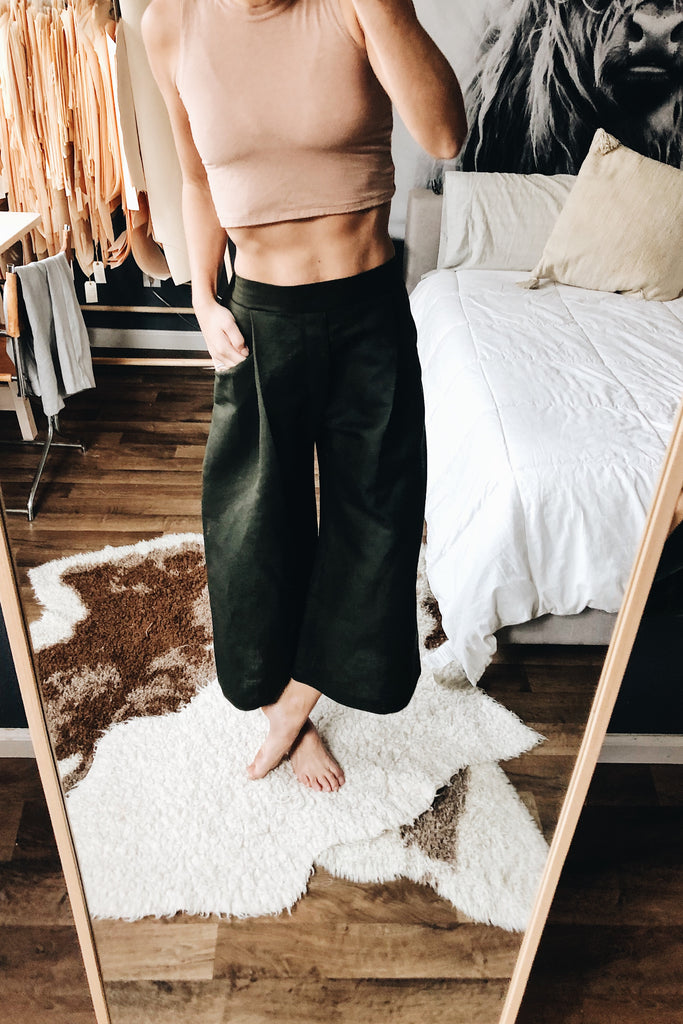 {124} High-Waisted, Crop Trouser - Deep Olive