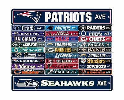 "New NFL Football Team Official Logo Street Sign 4"" X 24"" -  All Teams Available"