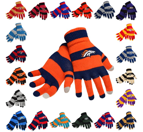NFL Football Stripe Knit Texting Tips Gloves - One Size, All Teams