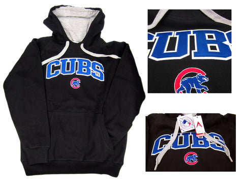 Chicago Cubs Licensed Antigua MLB Baseball Pullover Hooded Sweatshirt Hoodie - Black