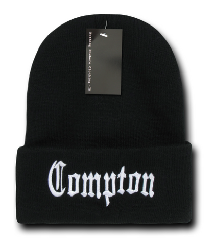 Compton embroided Cuff CITY BEANIES by decky Black & White - Choose Color