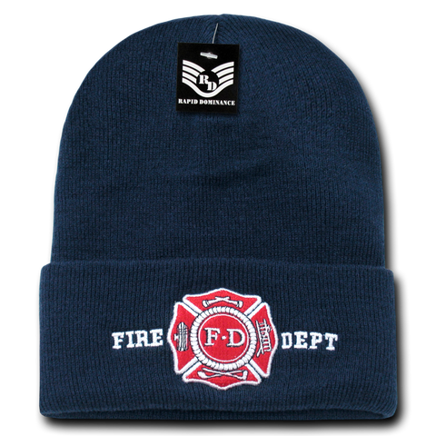 Rapid Dominance Fire Dept Ny Fire Department, R81-FD Pub/Safety Long Cuff Beanie - Navy