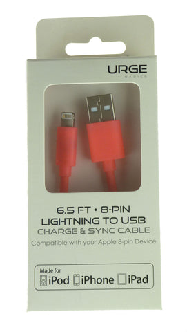 Urge Basics Apple Certified 6.5 Foot Lightning Cable, Coral Pink