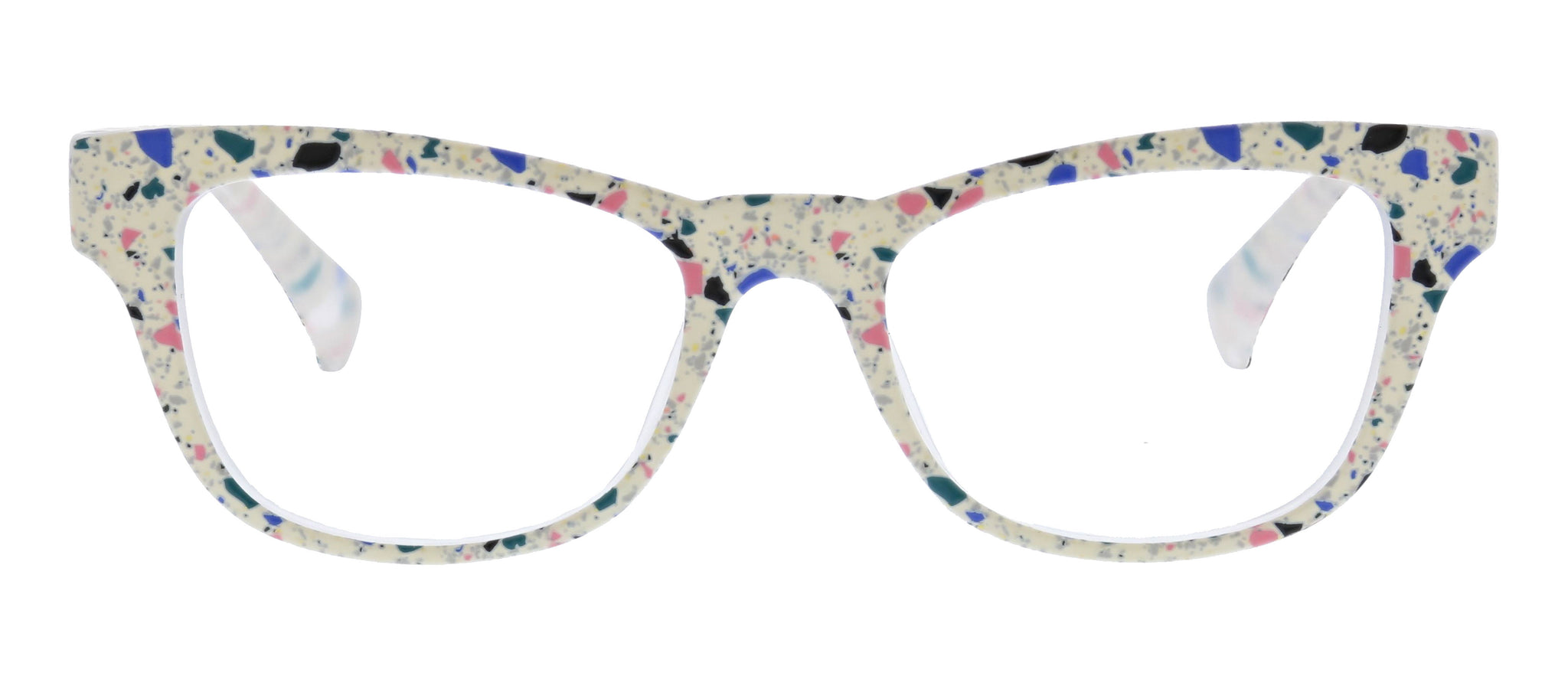 Terrazzo blue light reading glasses by Peepers