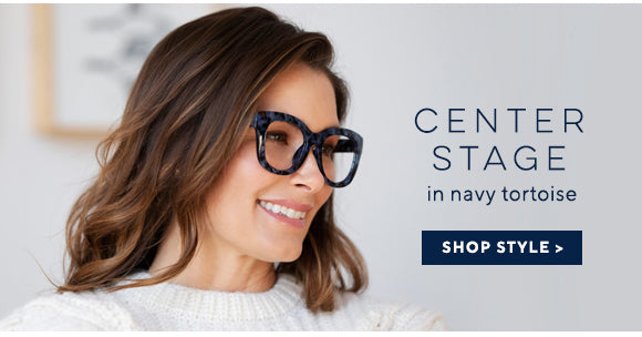 Brunette woman wearing Peepers Center Stage blue light reading glasses