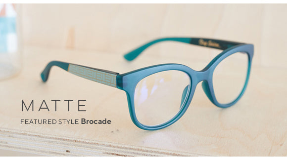 Blue light reading glasses in a matte style featuring Brocade by Peepers