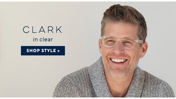 Man wearing Clark blue light reading glasses by Peepers