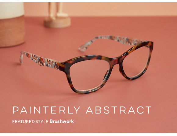 Painterly abstract style featuring Brushwork blue light reading glasses by Peepers