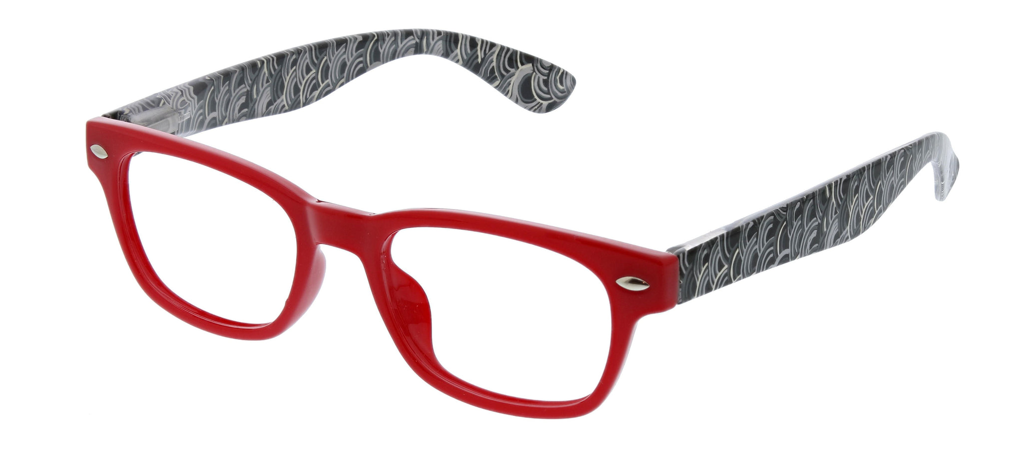 Wavelength blue light reading glasses in red by Peepers