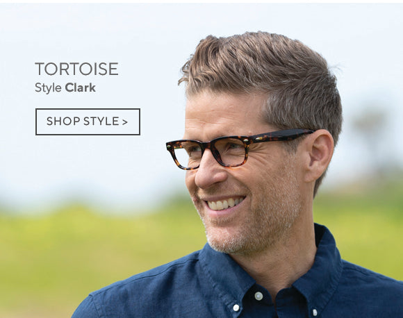 Man wearing Clark blue light reading glasses in tortoise by Peepers