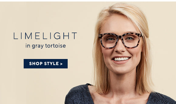 Blonde woman smiling and wearing Oprah's Favorite blue light reading glasses Limelight by Peepers