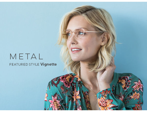 Metal trend style by Peepers featuring a blonde woman wearing Vignette blue light reading glasses