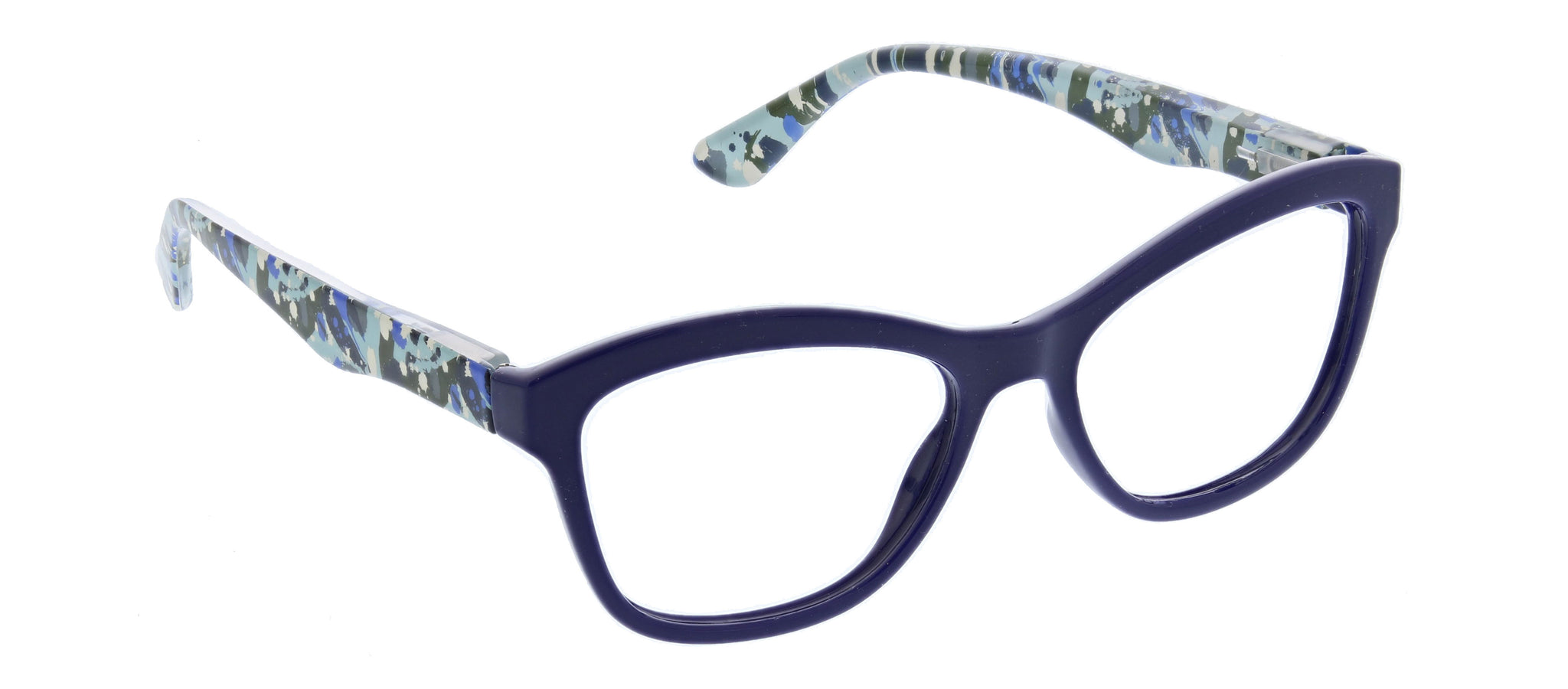 Brushwork blue light reading glasses in navy by Peepers