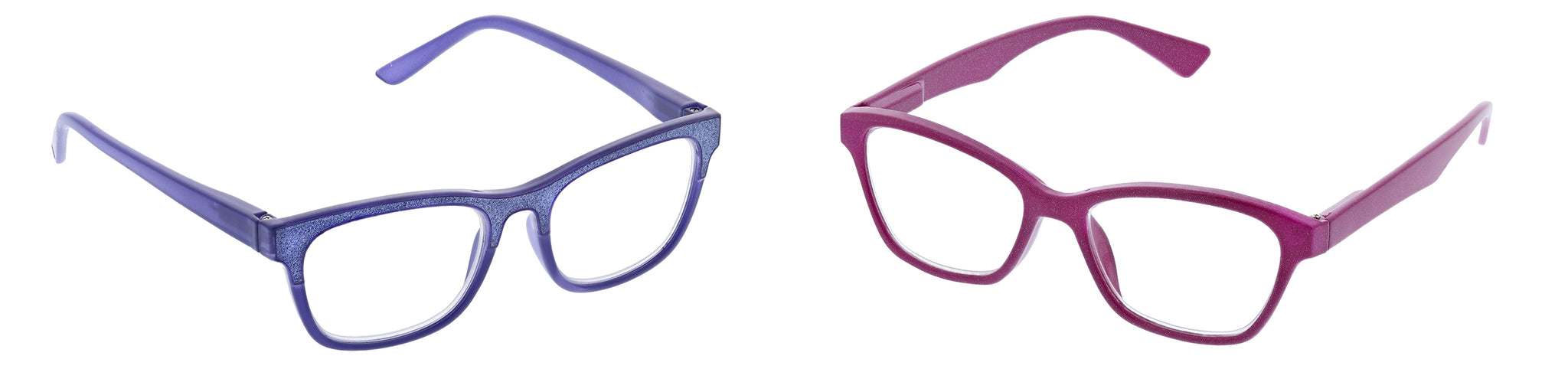 Peepers by PeeperSpecs Foxy Mama in purple and Glitz and Glam in pink blue light reading glasses