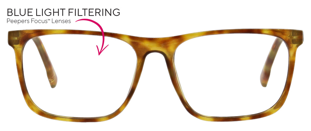 Highbrow blue light reading glasses in honey tortoise by Peepers