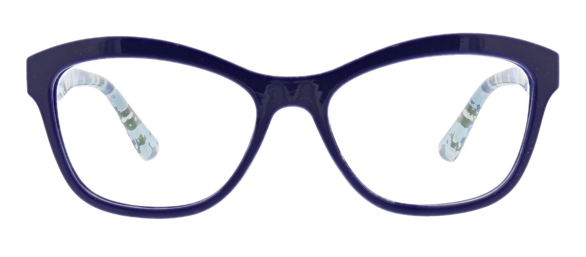Brushwork in navy blue light cat-eye reading glasses by Peepers
