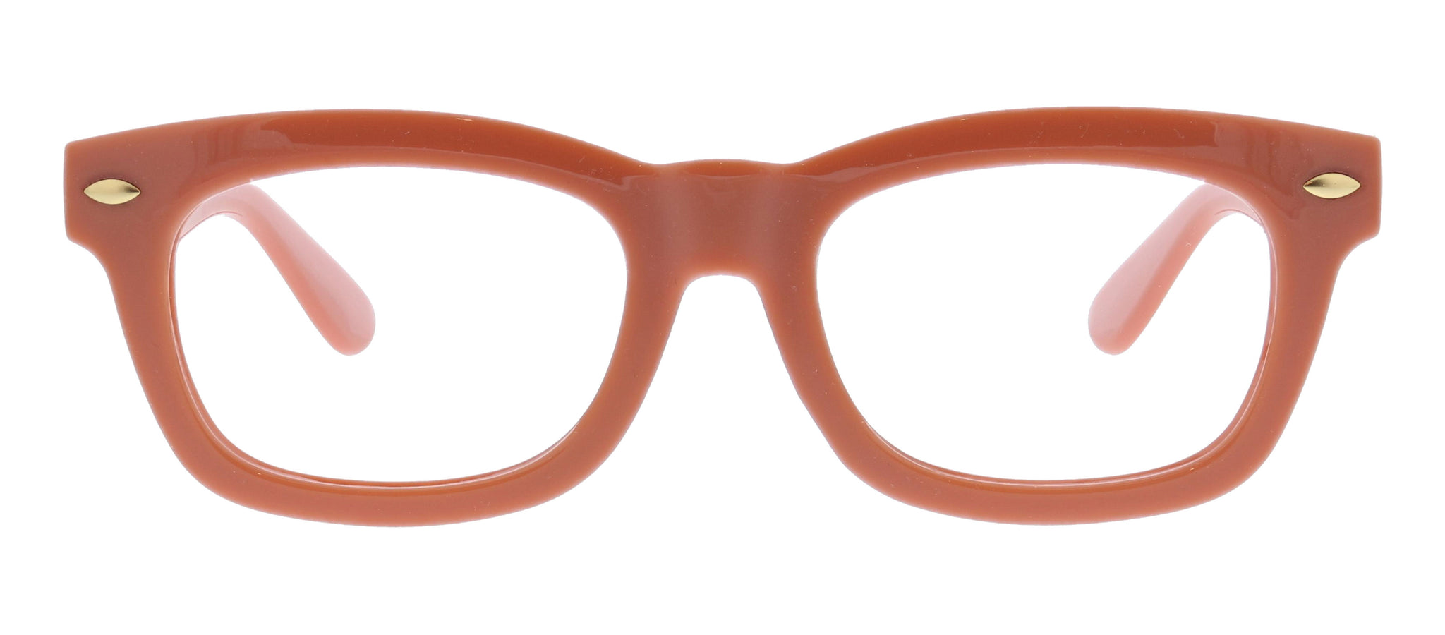 Lois rust soft square blue light reading glasses by Peepers front view