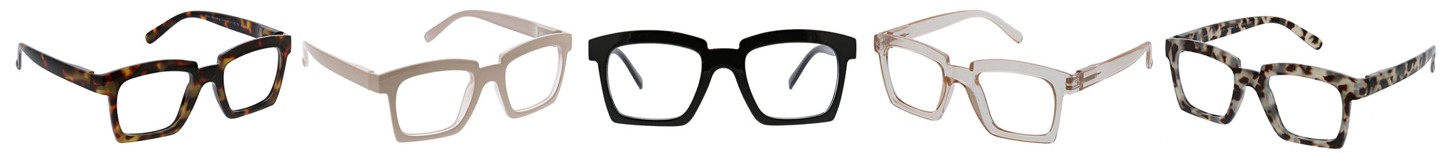 Peepers Standing Ovation blue light reading glasses in tortoise, taupe, black, tan, and gray tortoise
