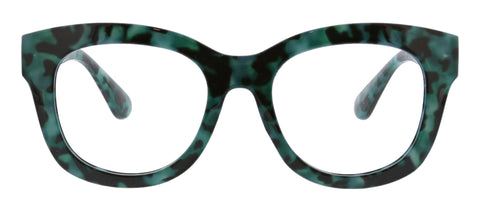 Peepers Center Stage blue light glasses in green tortoise