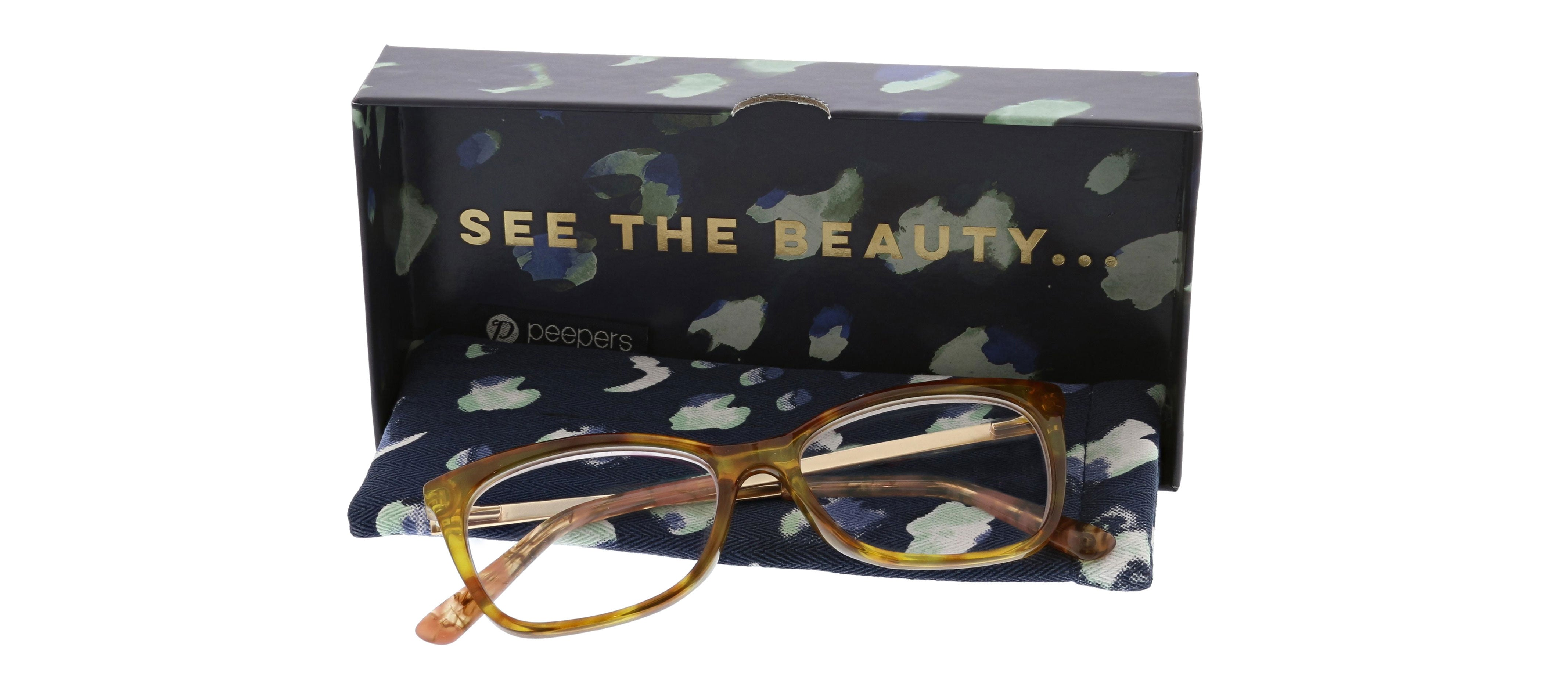 Peepers See The Beauty blue light glasses packaged in box