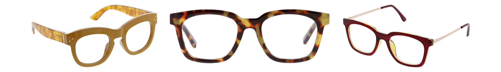 Peepers Bravado, To The Max, and Moderne Metal reading glasses on a white background