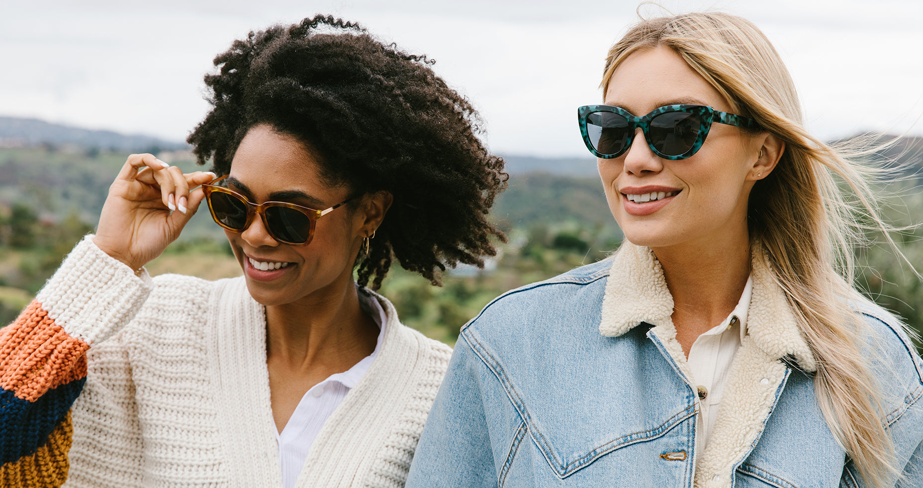 Two women wearing Peepers sunglasses