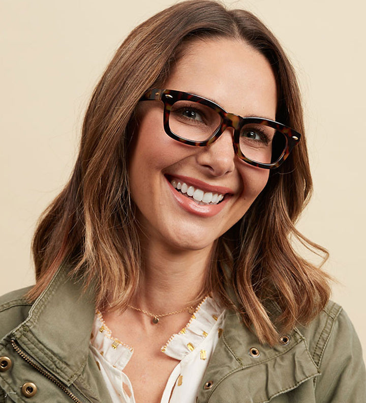 Female model wearing medium frames