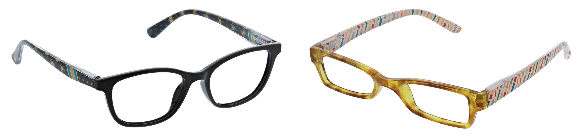 Peepers by PeeperSpecs Lore in black and Copenhagen in honey tortoise blue light reading glasses