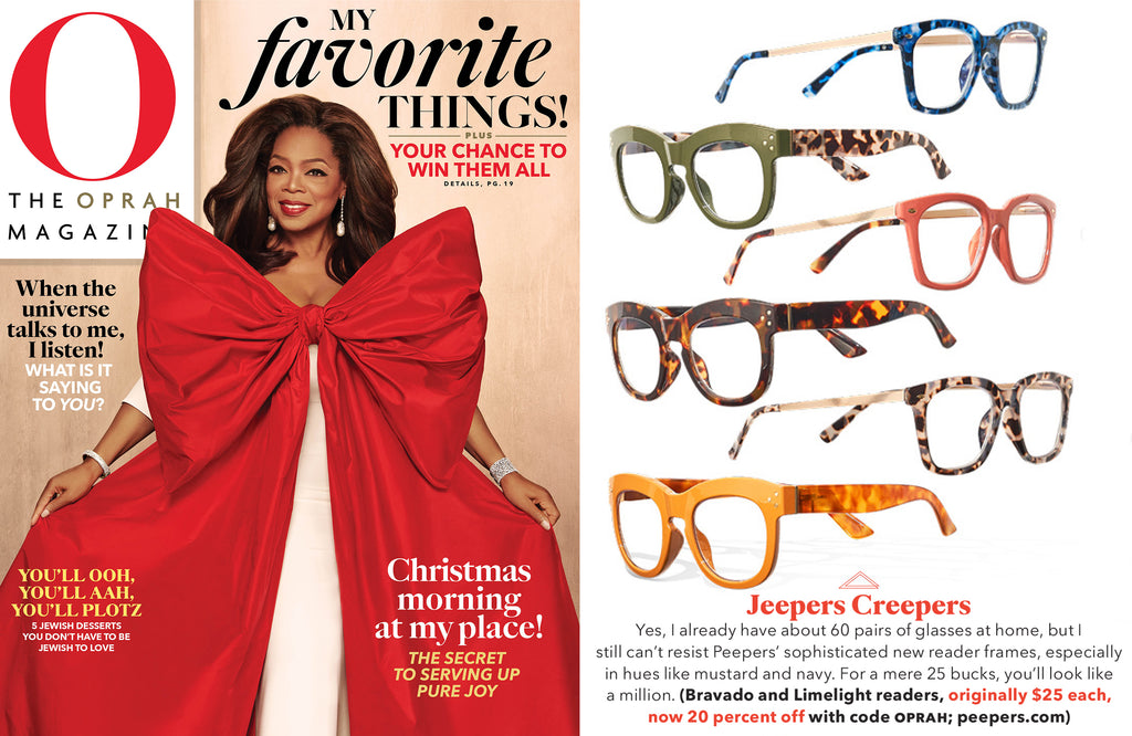 O Magazine featuring Oprah's Favorite Things blue light reading glasses Bravado and Limelight by Peepers