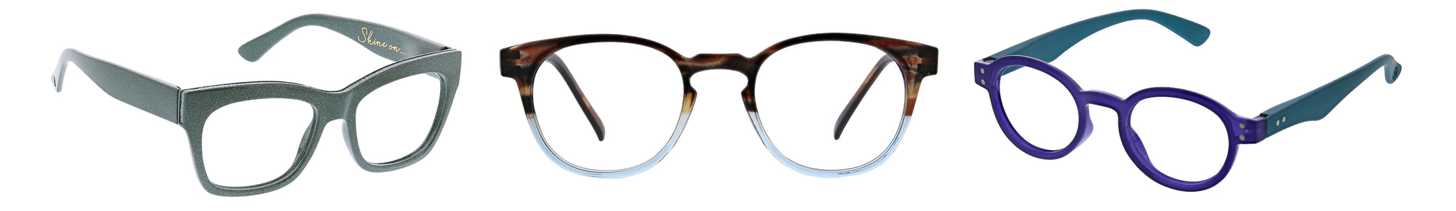 Peepers Shine On, Dynomite, and Book It! reading glasses on a white background