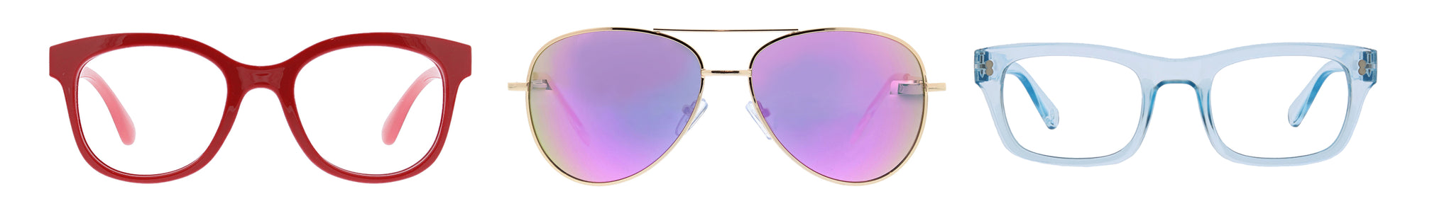 Peepers Grandview and Venice reading glasses and Heat Wave aviator sunglasses on a white background
