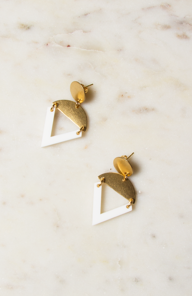 Lucite and Brass Earrings
