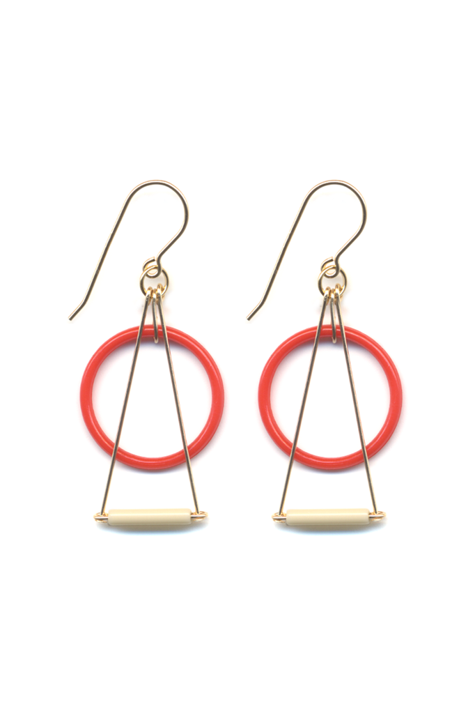 Red & White Prism Drop Earrings