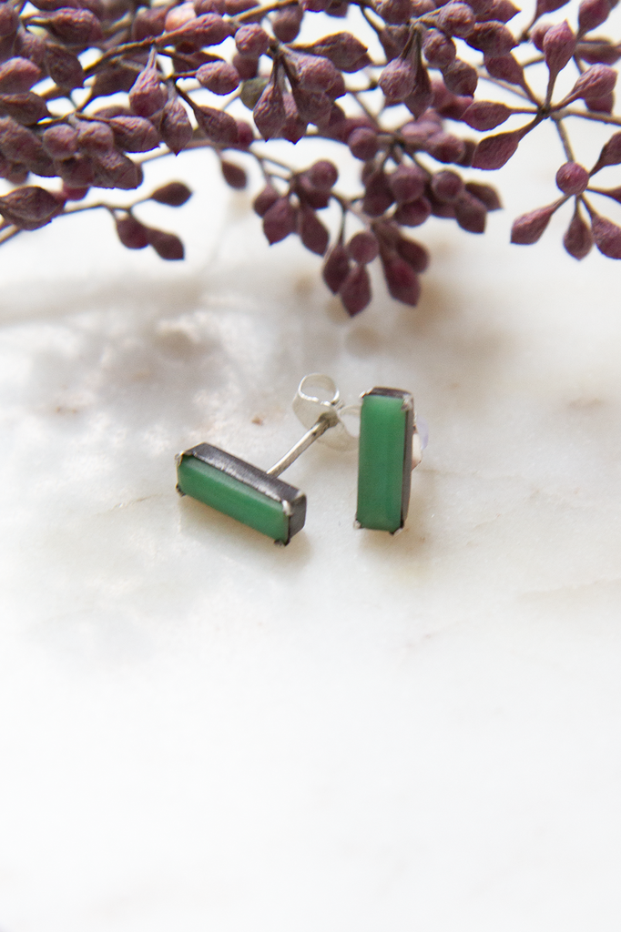 Chrysoprase Small Faceted Baguette Stud