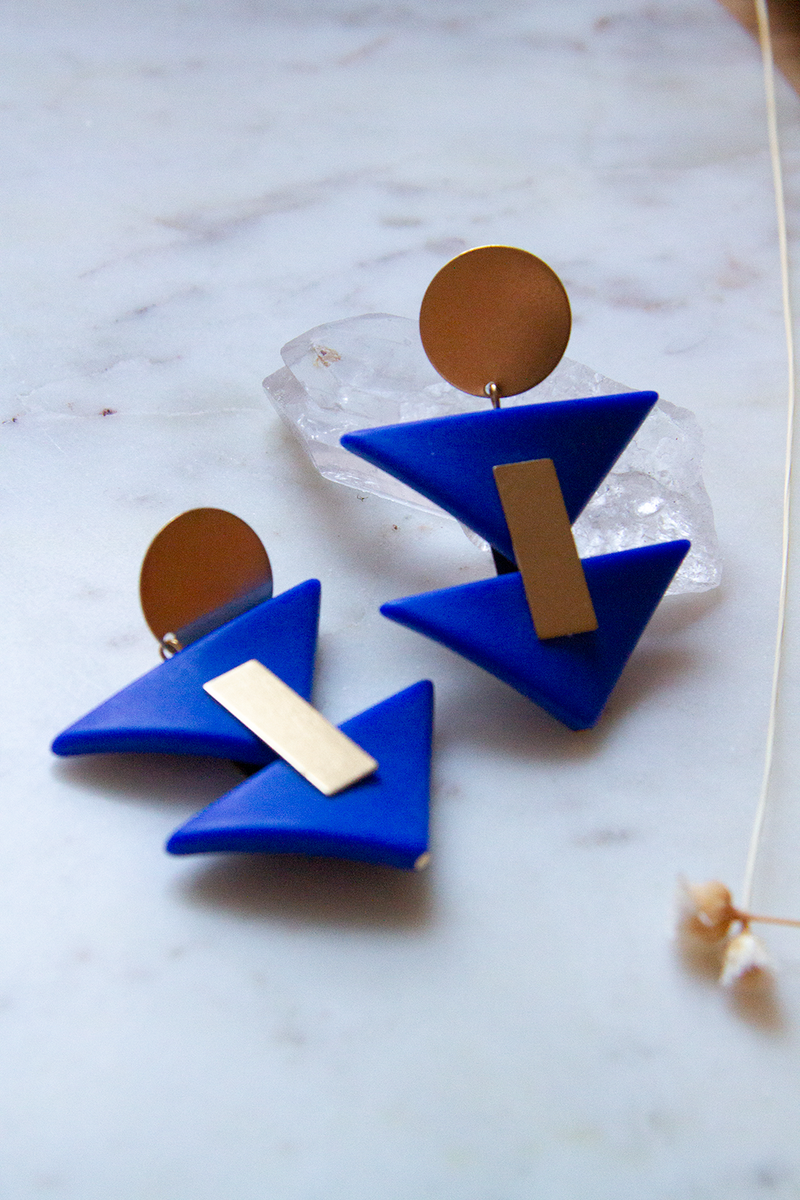 Brass earrings with Acrylic Triangles