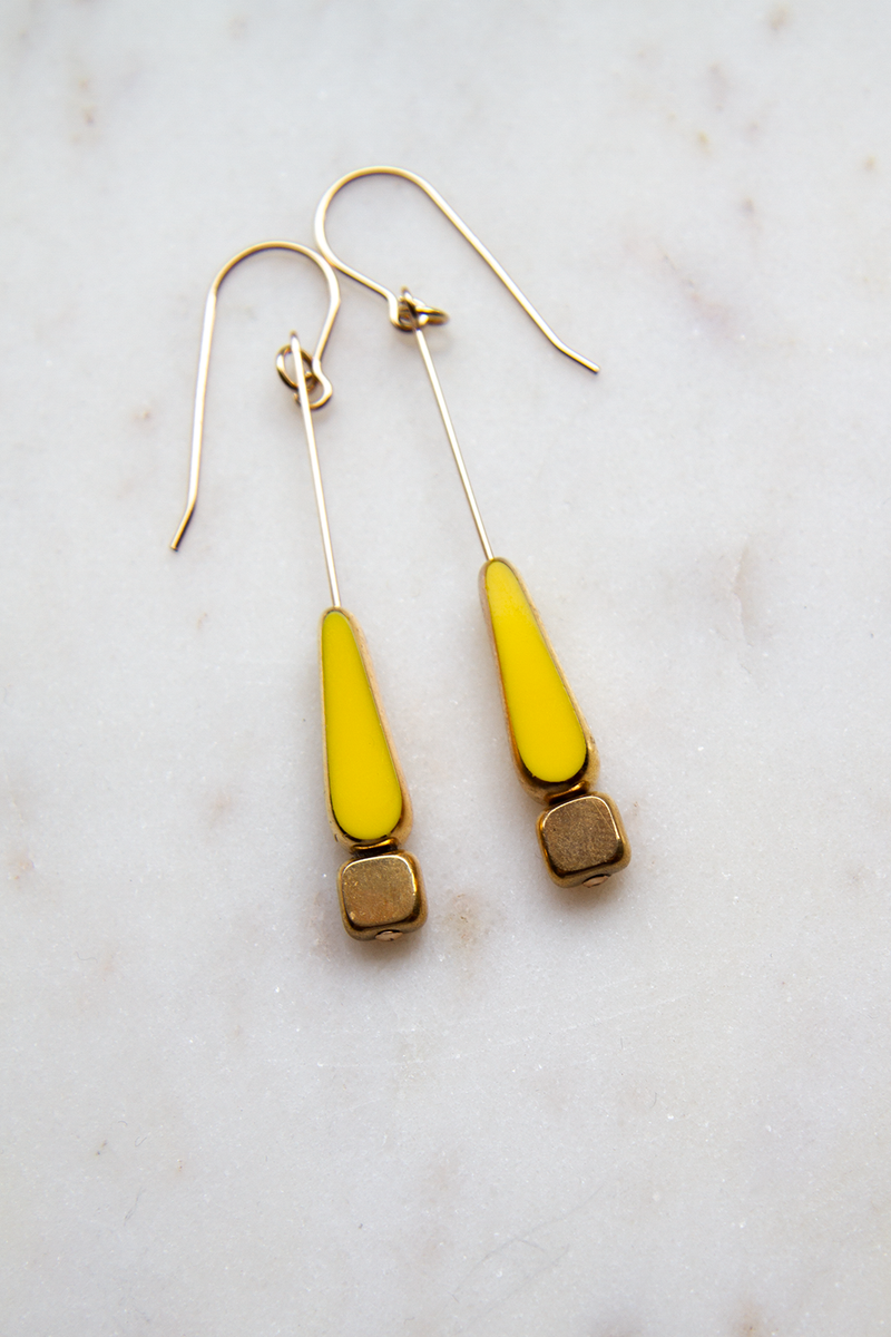 Yellow Tear Gold Dipped Drops