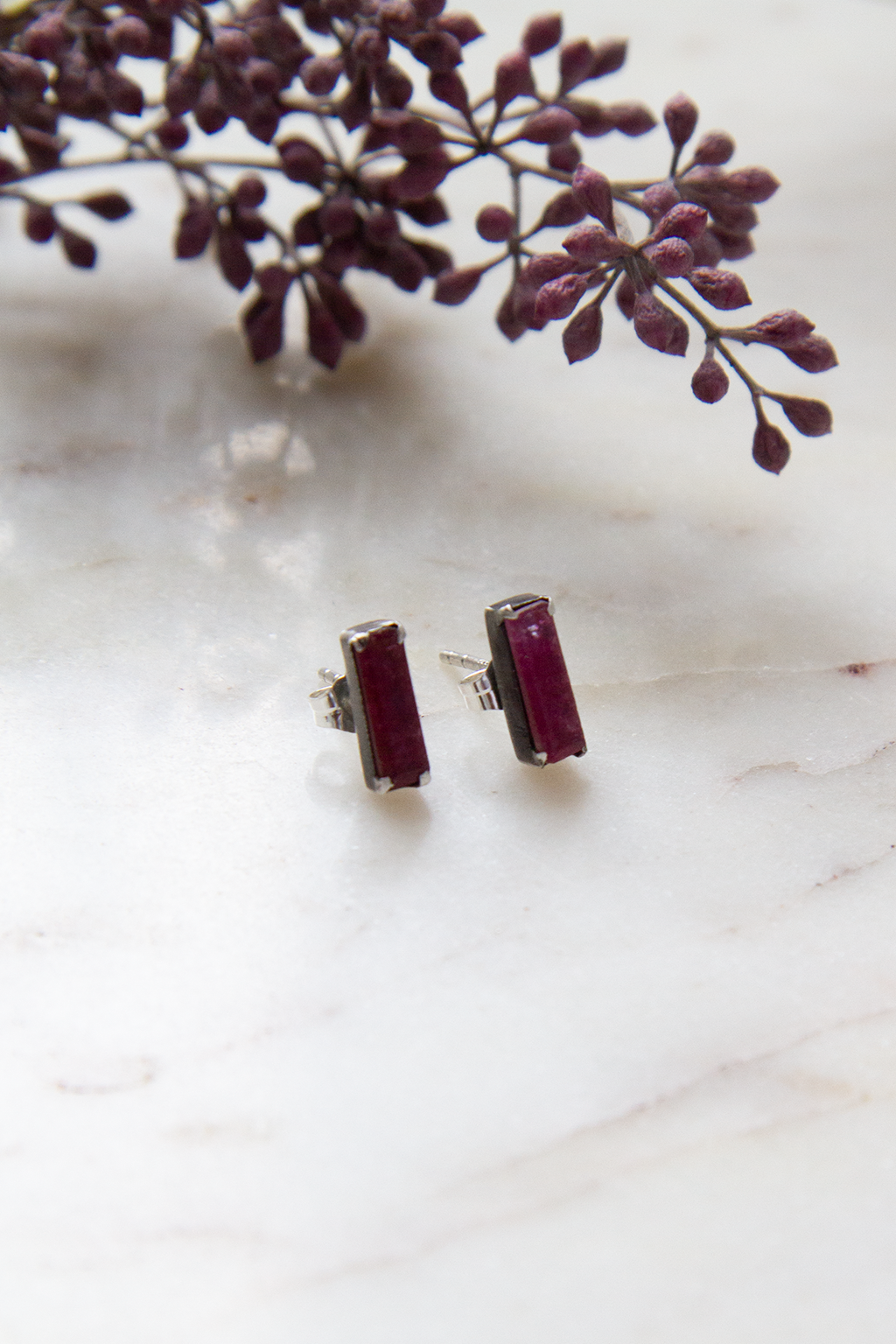 Ruby Jade Small Faceted Baguette Stud