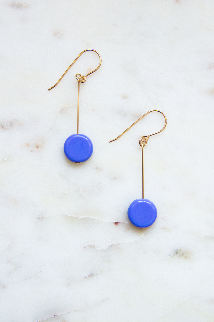 Periwinkle Glass Bead Circle Drop Earrings