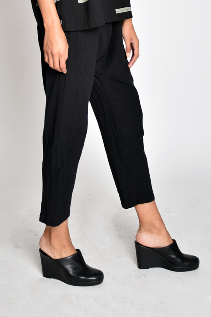 100% Cotton Drop Crotch Pants, Black