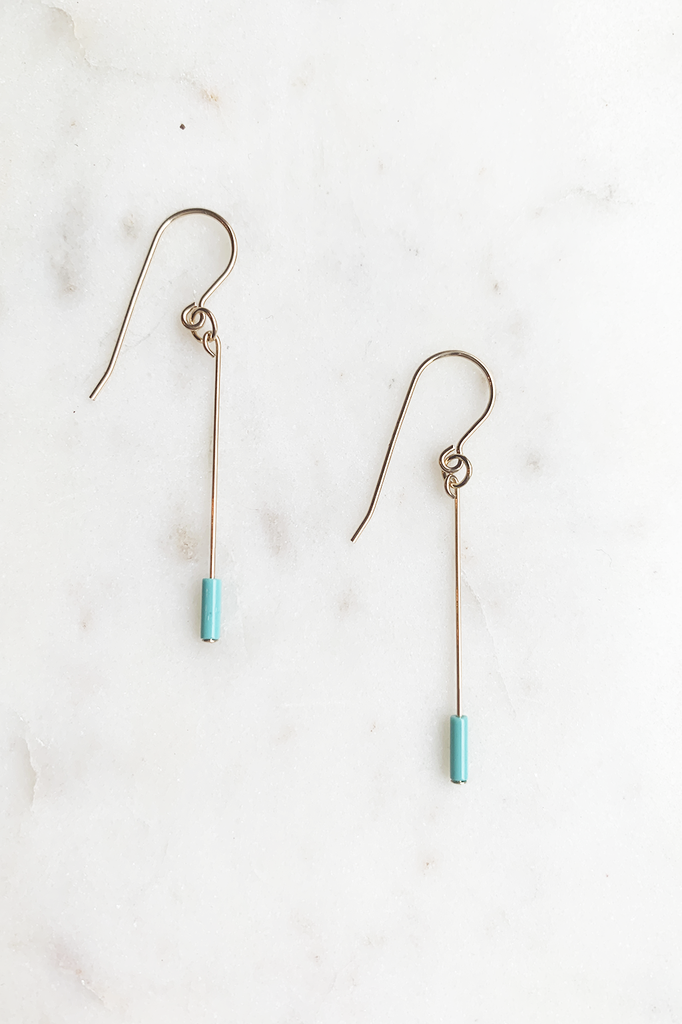 Turquoise Line Drop Earrings